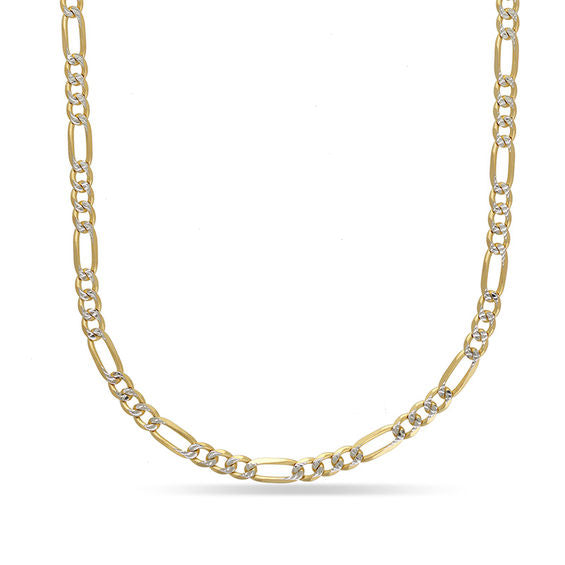 3.3mm 10K Yellow Gold Two Tone Figaro Chain
