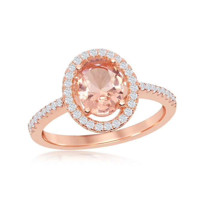 Oval Morganite Halo Ring