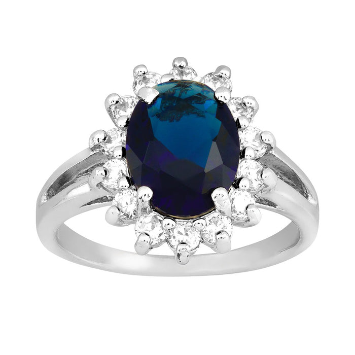 Sterling Silver Created Blue Sapphire & CZ Ring