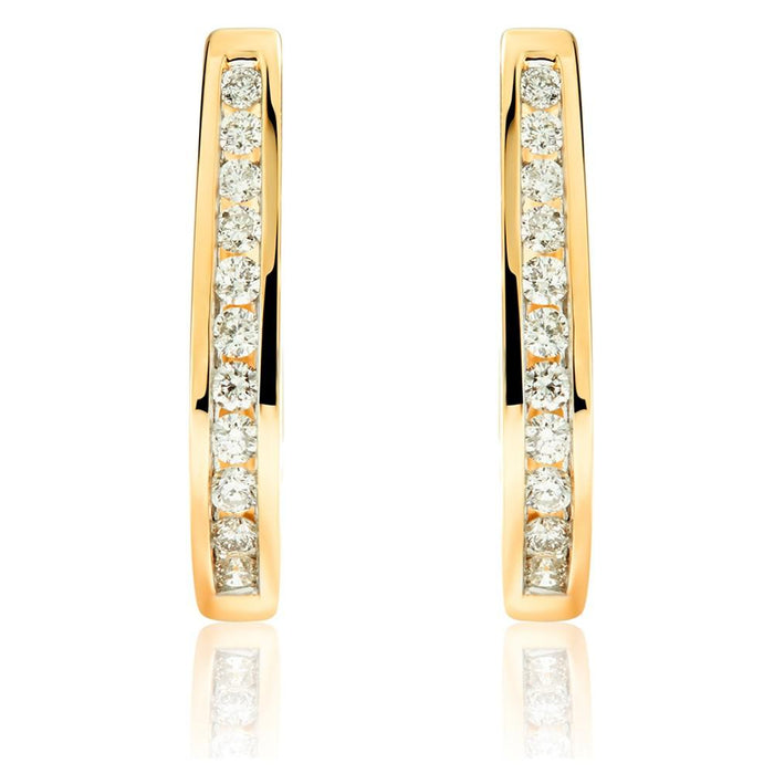 Diamond J Hoops: Yellow Gold
