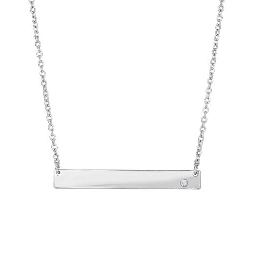Engravable Bar Necklace with CZ
