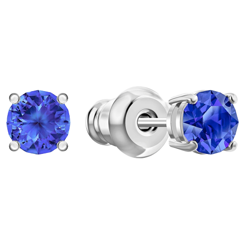 Swarovski Attract Round Earrings: Blue