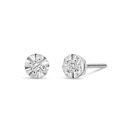 .10CT Lab Grown Diamond Studs: Faceted Setting