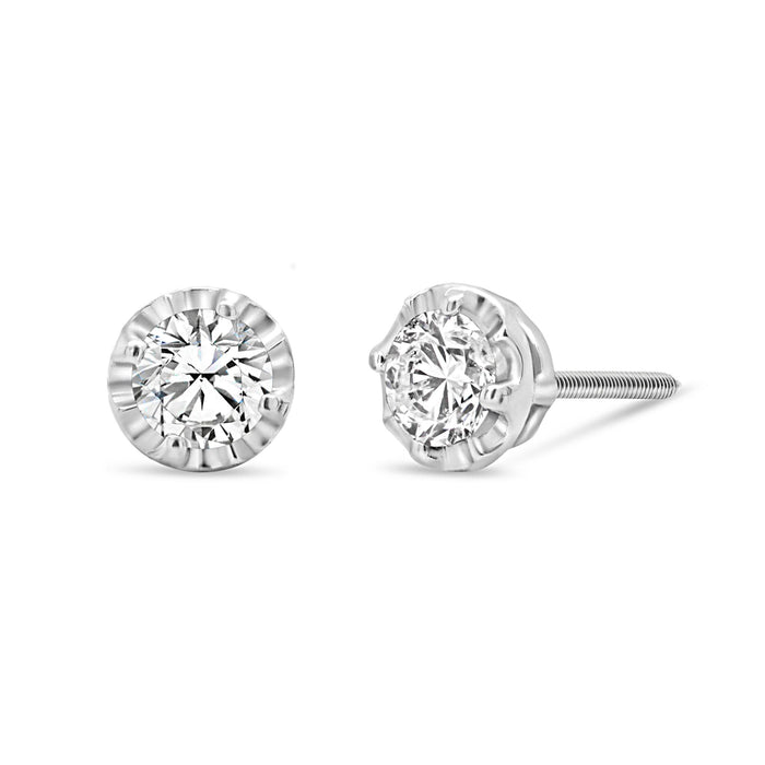 .60CT Lab Grown Diamond Studs: Faceted Setting
