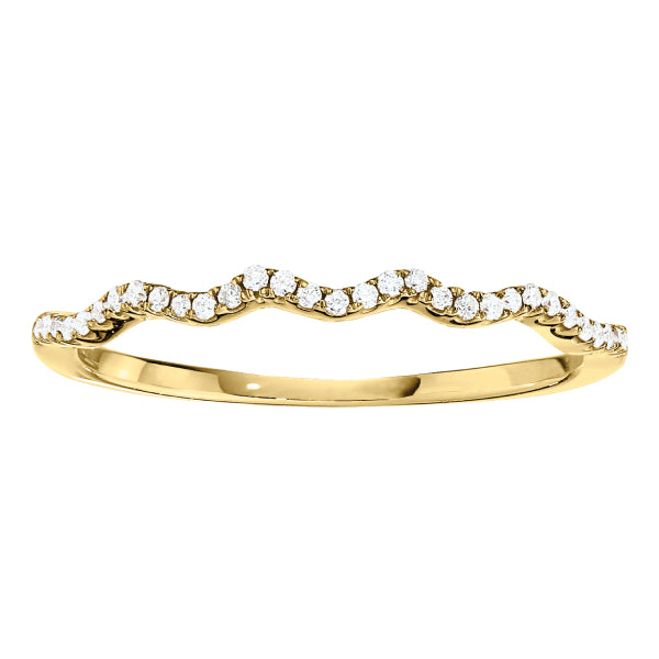 .16CT Wavy Diamond Wedding Band: Gold