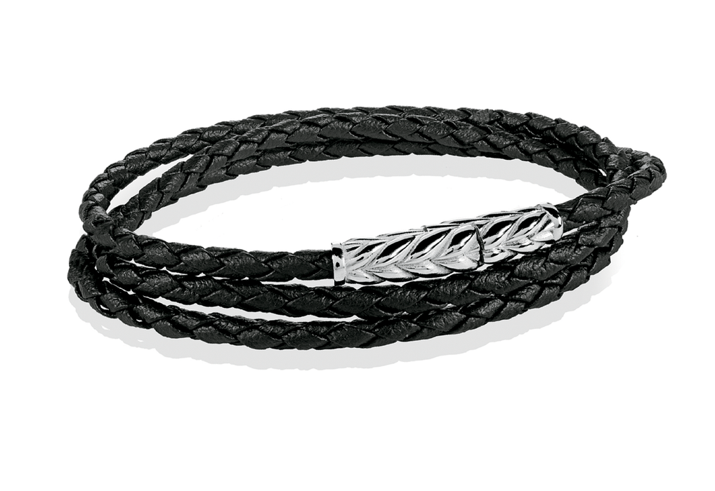 Italgem Braided Leather Wrap Bracelet: Black/Silver