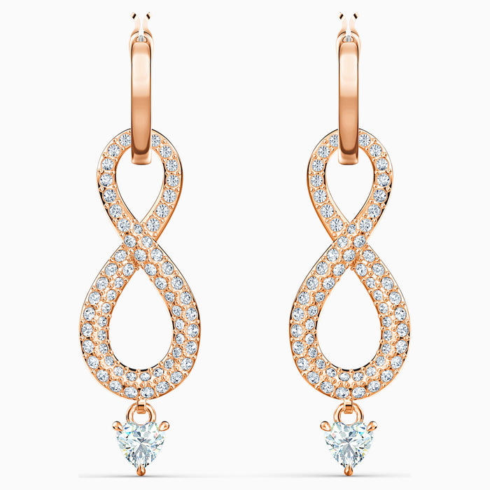 Swarovski Infinity Earrings: Rose Tone
