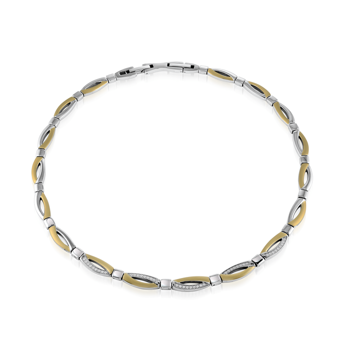 Italgem Two Tone Link Collar Necklace