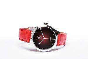 Montre automatique homme rouge cuir made in France atom