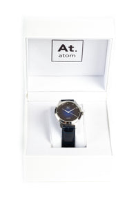 Montre automatique homme bleu cuir made in France Atom