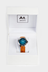 Montre automatique homme bleu lagoon cuir made in France atom