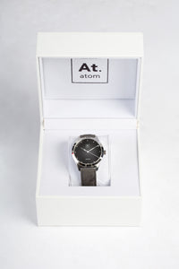 Montre automatique homme noir cuir made in France atom
