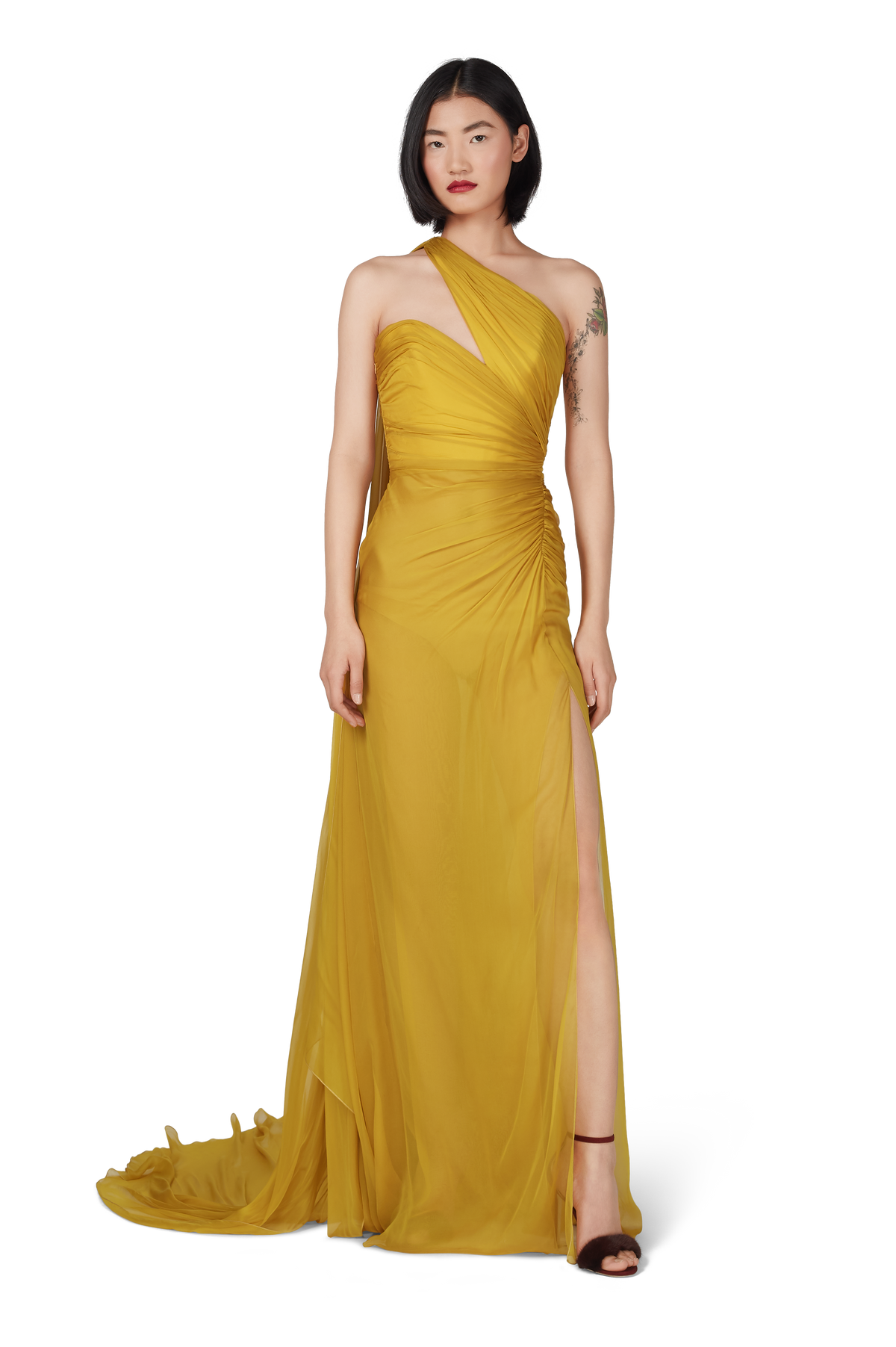 Mustard Chiffon One Shoulder Draped Gown