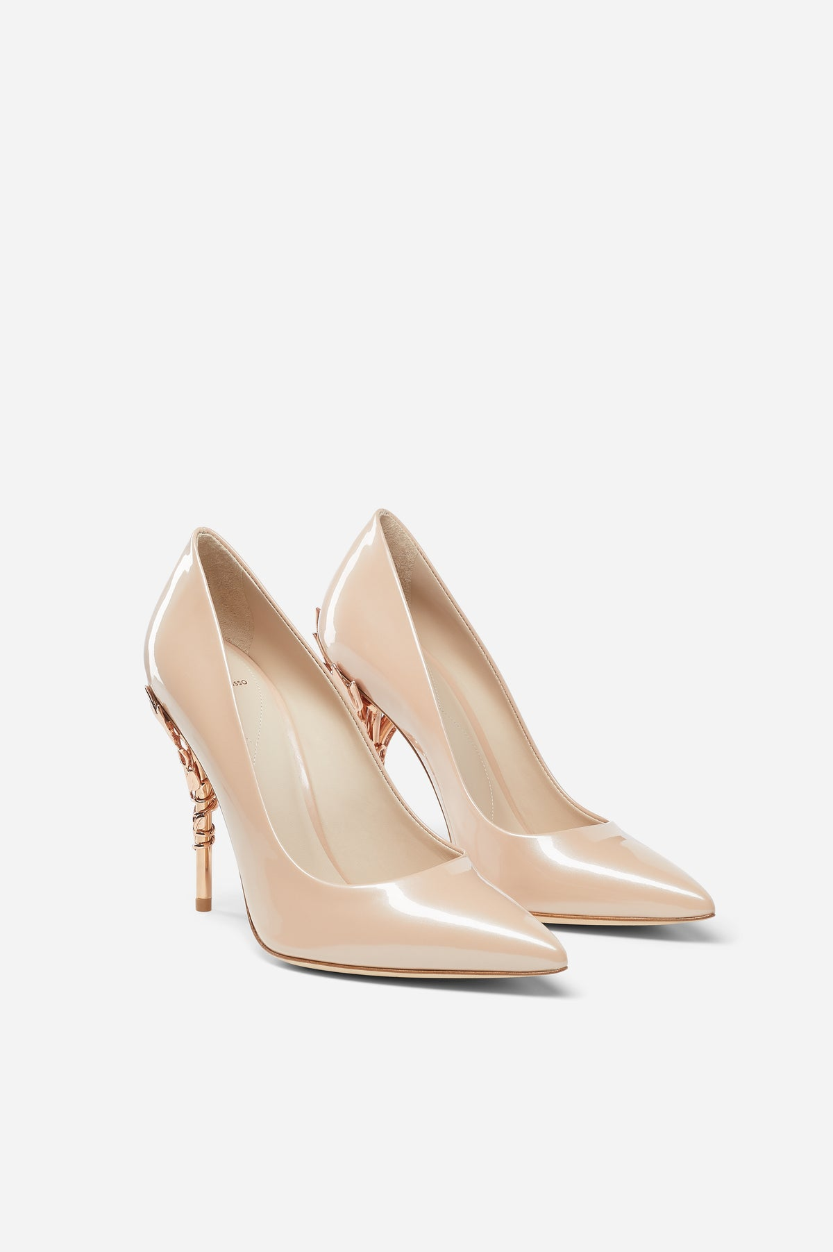 Pearl Pink Patent Leather with Rose Gold Leaves
