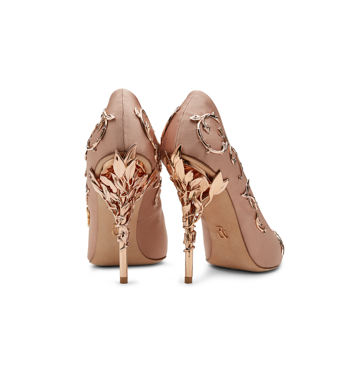 Vintage Pink Satin Eden Heels with Rose Gold Leaves