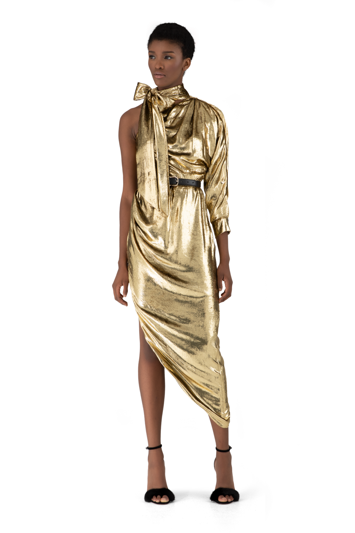 Gold Mirror Liquid Velvet Asymmetric Dress
