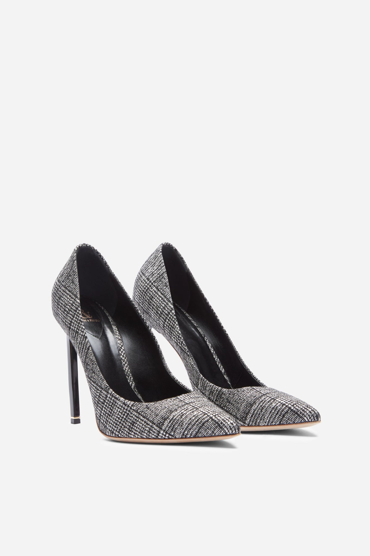 Black and White Houndstooth Empire Pumps with Light Gold Hardware