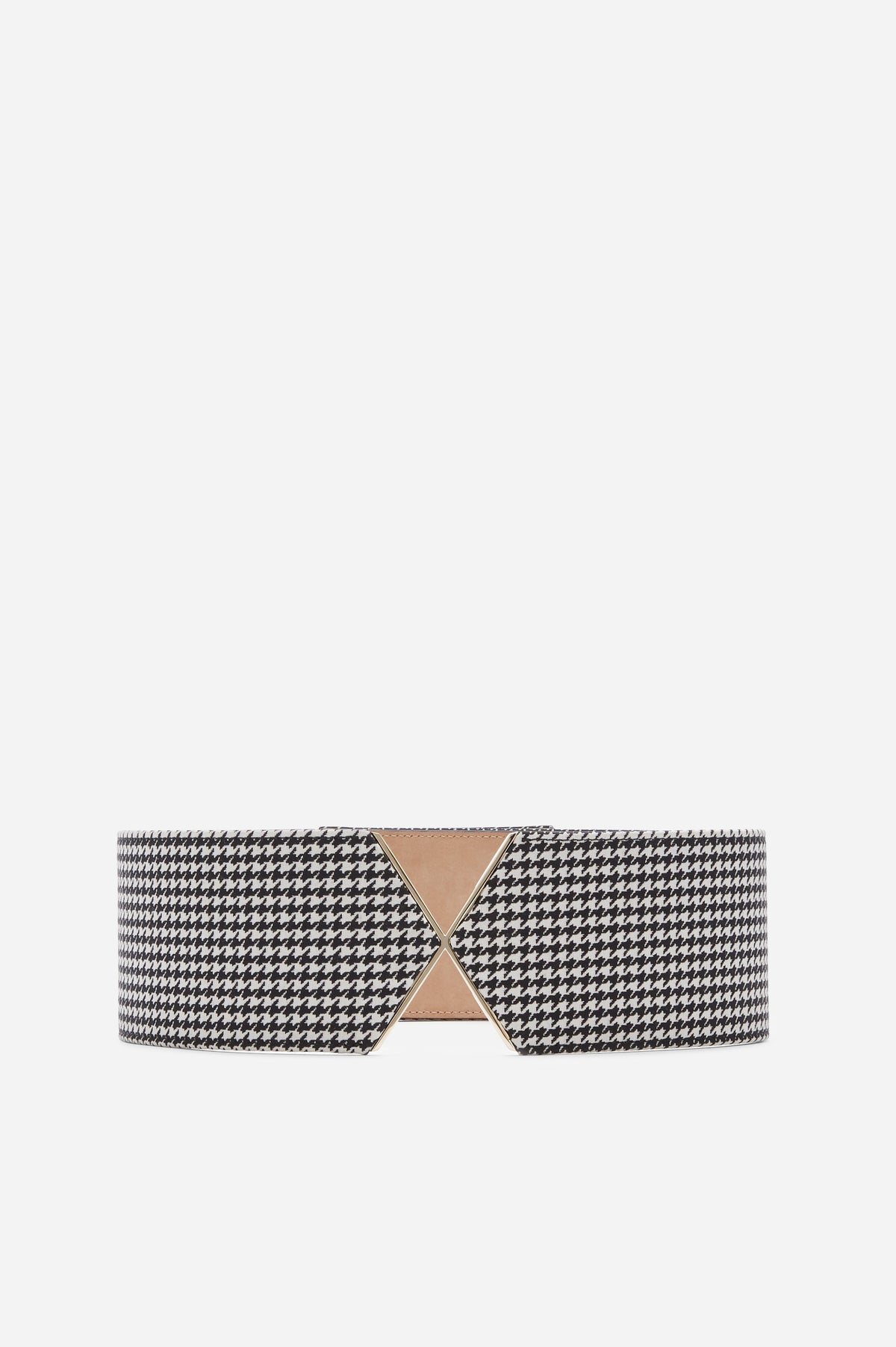 Monochrome houndstooth  with light gold hardware