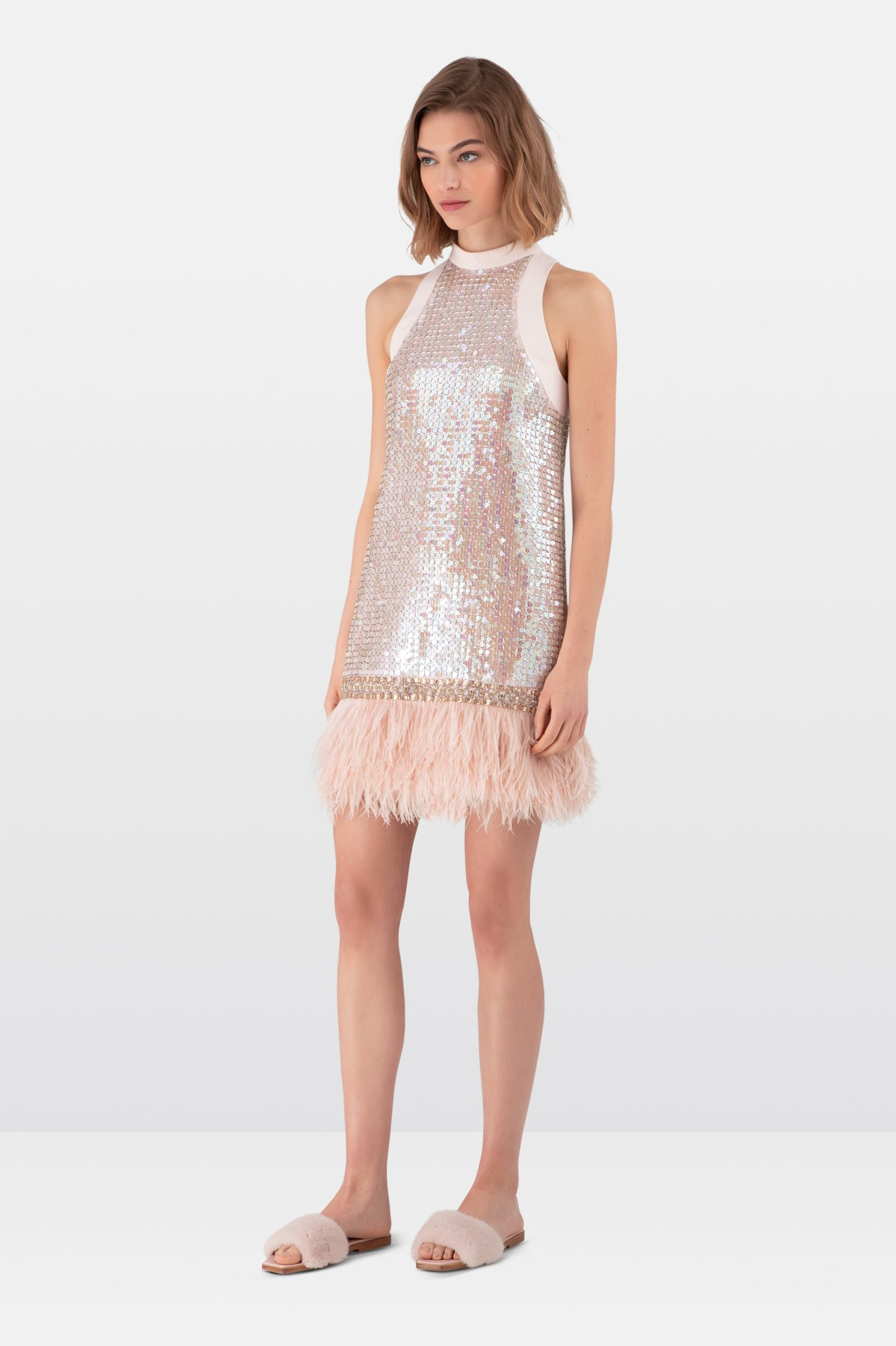 Pink Metallic Sequin Mini Dress