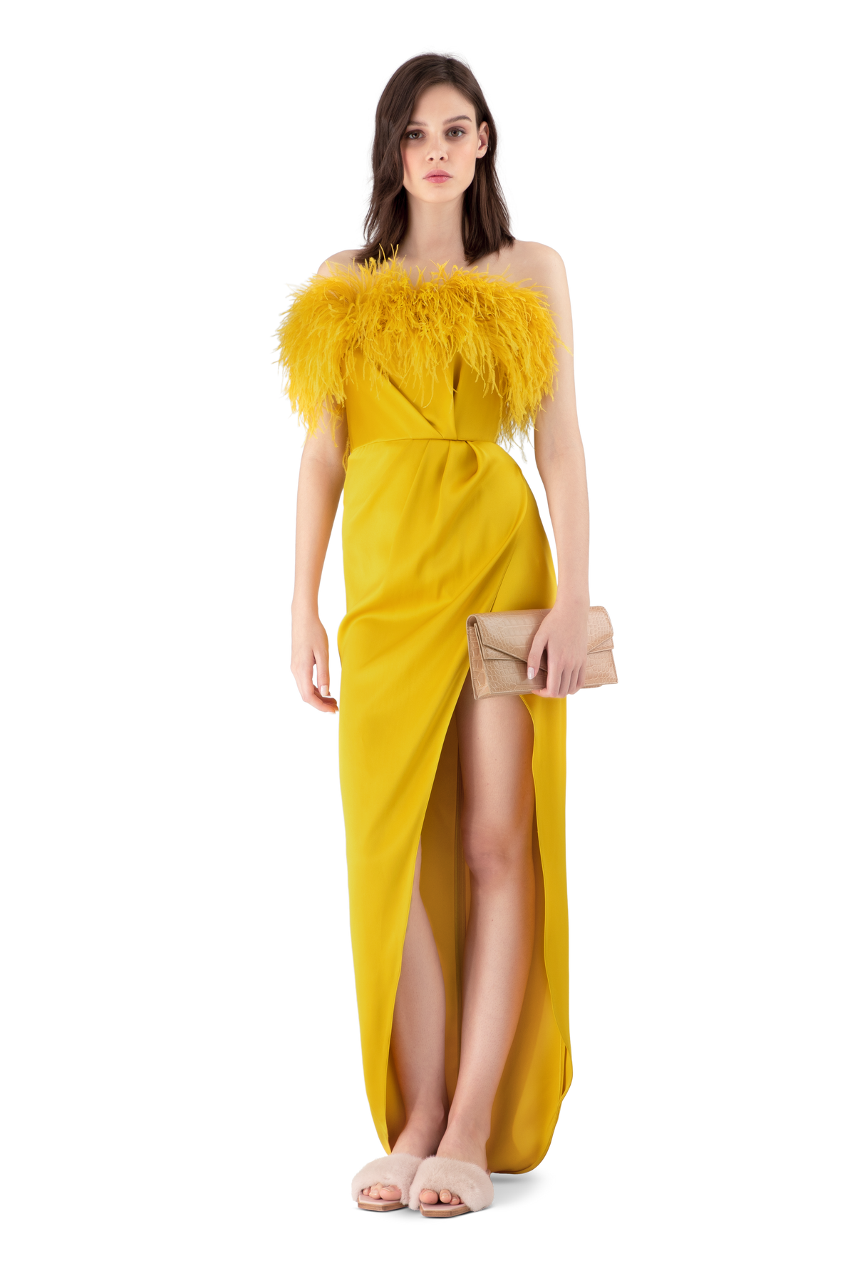 Mustard Double Silk Satin Feather Draped Dress