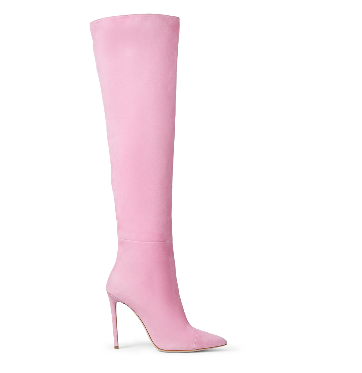 Pink Suede Over the Knee Boots