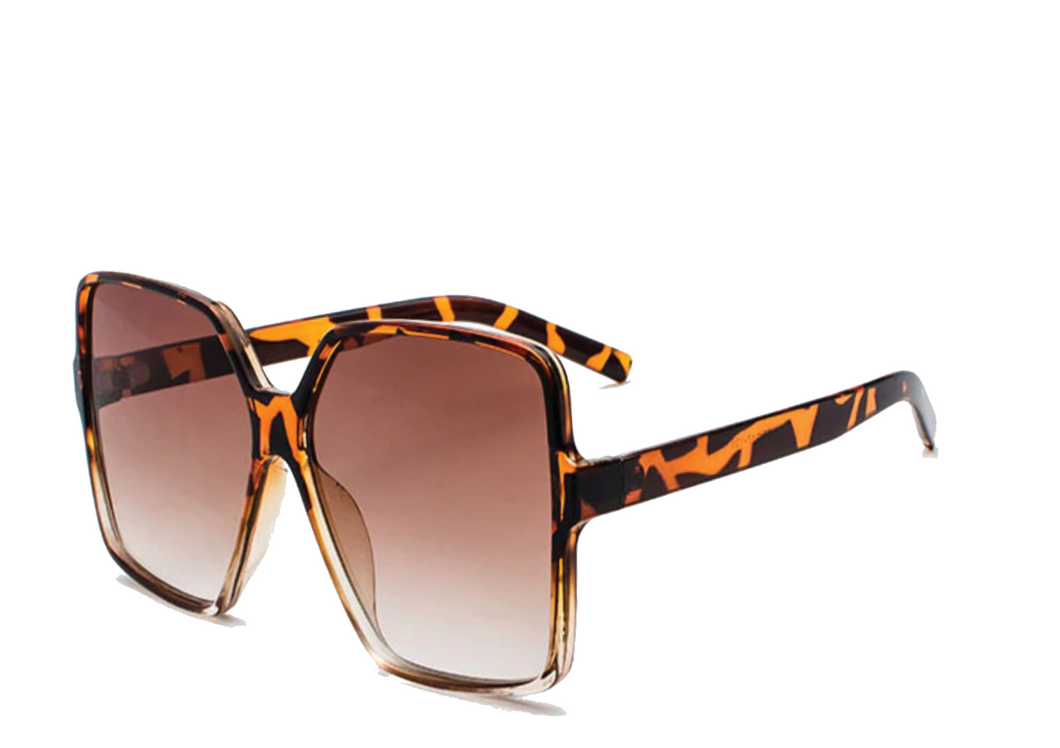 Women's Oversized Square Sunglasses, Brown Leopard Frames