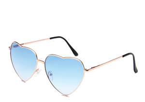 Blue Lens Heart Sunglasses