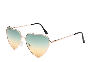 Green and Orange Lens Heart Sunglasses