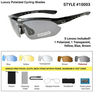 Luxury Polarized Cycling Shades Black Frames / 5 Lenses Sunglasses
