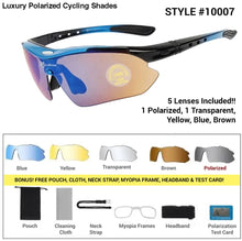 Load image into Gallery viewer, Luxury Polarized Cycling Shades Blue Frames / 5 Lenses Sunglasses