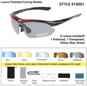 Luxury Polarized Cycling Shades Red Frames / 5 Lenses Sunglasses