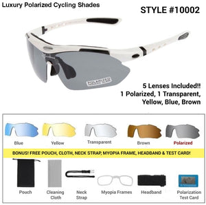 Luxury Polarized Cycling Shades White Frames / 5 Lenses Sunglasses