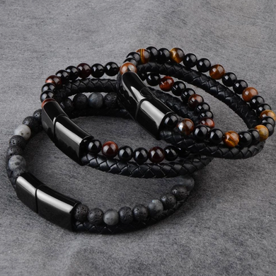 Men's Natural Stone & Braided Leather Bracelet