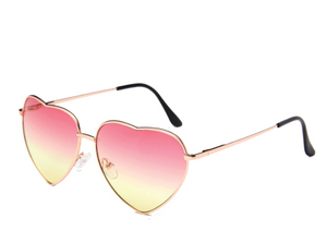 Yellow and Pink Lens Heart Sunglasses