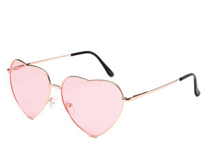 Pink Lens Heart Sunglasses
