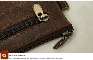Men's Vintage Zippered Leather Wallet