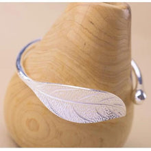 Load image into Gallery viewer, Sterling Silver Leaf Cuff Bracelet