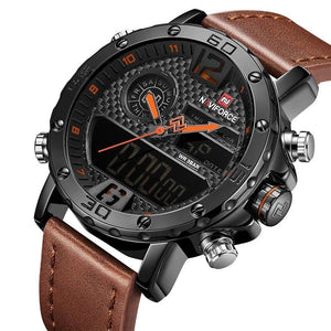 Mens Leather Band Luxury Sports Watch Jewelry