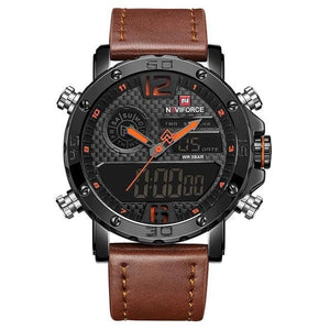 Mens Leather Band Luxury Sports Watch Black Orange / China Jewelry