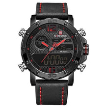 Load image into Gallery viewer, Mens Leather Band Luxury Sports Watch Black Red / China Jewelry