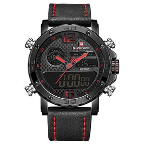 Mens Leather Band Luxury Sports Watch Black Red / China Jewelry