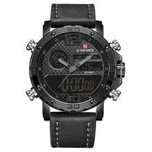 Load image into Gallery viewer, Mens Leather Band Luxury Sports Watch Black Grey / China Jewelry