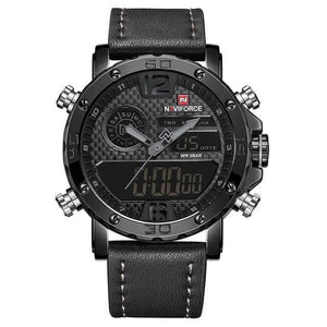 Mens Leather Band Luxury Sports Watch Black Grey / China Jewelry