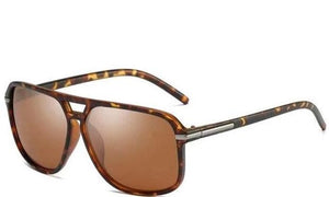Men's Square Aviator Sunglasses Brown Lens