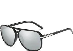 Men's Square Aviator Glasses Silver Lens