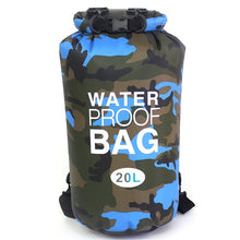 Load image into Gallery viewer, Blue & Black Skiers Waterproof Backpack