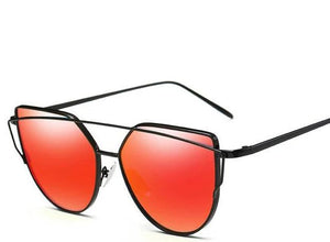 Cat-Eye Red Lens Black Frame Sunglasses
