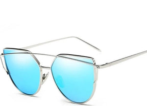 cat-eye sunglasses silver frame blue lens women's