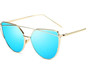 women's gold frame cat-eye sunglasses blue lens
