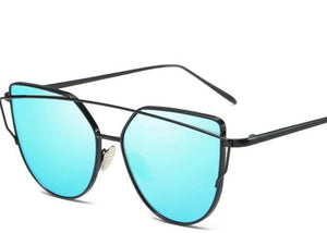 Women's Blue Cat-eye sunglasses black frames
